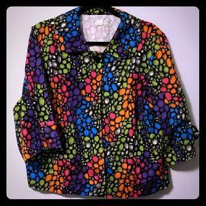 CJ Banks colorful swing jacket, sz 1X